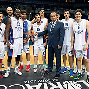 Anadolu Efes's players during their Gloria Cup Basketball Tournament match Anadolu Efes between Crvena Zvezda at Ulker Sports Arena in istanbul Turkey on Friday 26 September 2014. Photo by Aykut AKICI/TURKPIX