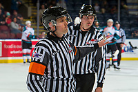 KELOWNA, CANADA - FEBRUARY 15:  Referee Jeff Ingram stands on the ice at the Kelowna Rockets against the Everett Silvertips on February 15, 2019 at Prospera Place in Kelowna, British Columbia, Canada.  (Photo by Marissa Baecker/Shoot the Breeze)