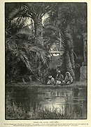 UNDER THE PALMS, Ayun Musa [Moses' Spring] Wood engraving of from 'Picturesque Palestine, Sinai and Egypt' by Wilson, Charles William, Sir, 1836-1905; Lane-Poole, Stanley, 1854-1931 Volume 4. Published in 1884 by J. S. Virtue and Co, London