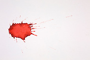 Blood droplet. In forensic science, the pattern created by projected blood is analyzed to determine information about the origin on the body, the weapon used and the number of blows, the relative position of the victim and assailant, and the sequence of events. This is a single drop that fell 20 cm onto a paper surface angled at 45 degrees to the horizontal.