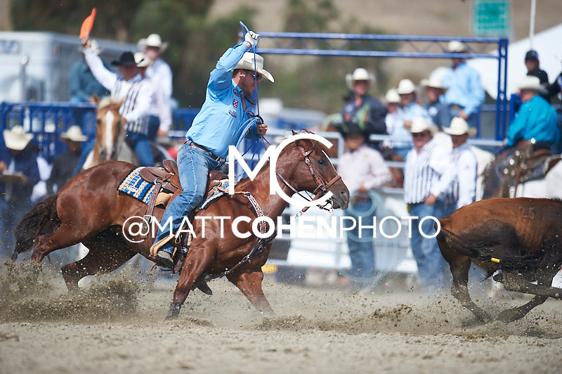 Team roper Buddy Hawkins II of Columbus, KS competes at the Rancho Mission Viejo Rodeo in San Juan Capistrano, CA.  <br /> <br /> <br /> UNEDITED LOW-RES PREVIEW<br /> <br /> <br /> File shown may be an unedited low resolution version used as a proof only. All prints are 100% guaranteed for quality. Sizes 8x10+ come with a version for personal social media. I am currently not selling downloads for commercial/brand use.