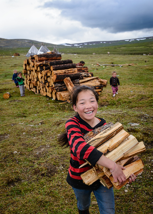 Teenage girl carrying firewood, Dukha (Tsaatan) reindeer herder community, Mongolia. The Dukha collect their wood from lower altitude forests as there is no wood in their settlement. Approximately 200 families comprise the Tsaatan or Dukha community in northwestern Mongolia, whose existence is intimately linked to their herds of reindeer. Photo © Robert van Sluis