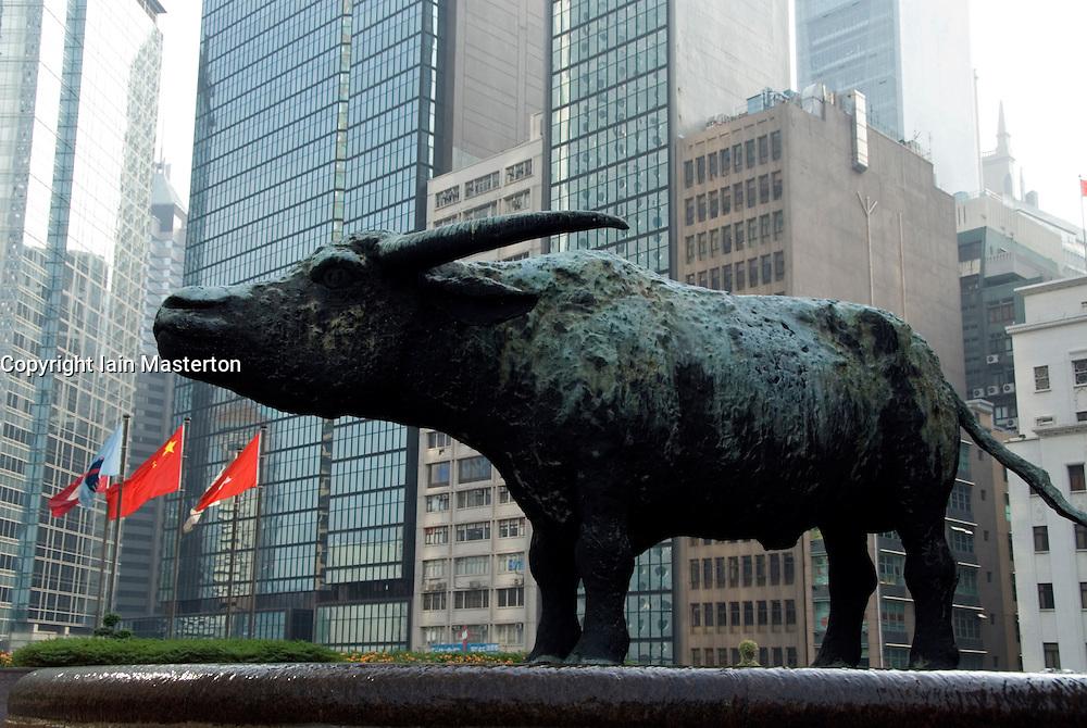 Bronze bull sculpture outside Hong Kong Stock Exchange