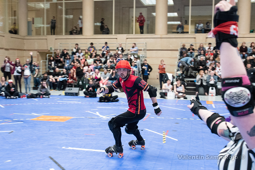 Jammer of Team Spain, #1492 Killer Manzano, during the game against Team Belgium at the MRDWC2018 in Barcelona, Spain.