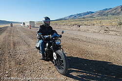 Dennis Leggett riding his 1936 Indian Sport Scout during stage 12 (299 m) of the Motorcycle Cannonball Cross-Country Endurance Run, which on this day ran from Springville, UT to Elko, NV, USA. Wednesday, September 17, 2014.  Photography ©2014 Michael Lichter.