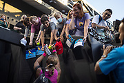 Serena Williams of the U.S. signs autographs for fans during the Yarra Valley Classic tournament ahead of the 2021 Australian Open at Melbourne Park in Melbourne, Australia.