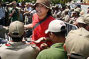 14 SEPTEMBER 2003 - CANCUN, QUINTANA ROO, MEXICO:  Anti-globalization activists argue with Mexican riot control forces during a protest in the hotel zone in Cancun, Mexico during the World Trade Organization meetings Sunday. Thousands of protestors opposed to the World Trade Organization and globalization have come to Cancun to protest the WTO meetings taking place in the hotel zone. Mexican police restricted most of the anti-globalization protestors to downtown Cancun, about five miles from the convention center, but small isolated groups of protestors were able to find ways into the hotel zone. Their protests were quickly controlled.  PHOTO BY JACK KURTZ