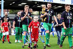 Oskar Pycroft walks out with the teams for the Bristol Fan Derby - Mandatory by-line: Robbie Stephenson/JMP - 04/09/2016 - FOOTBALL - Memorial Stadium - Bristol, England - Bristol Rovers Fans v Bristol City Fans - Bristol Fan Derby