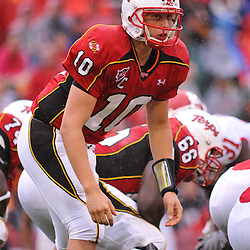 Sep 26, 2009; College Park, MD, USA; Maryland quarterback Chris Turner (10) signals his receivers during the first half of Rutgers' 34-13 victory over Maryland in NCAA college football at Byrd Stadium.