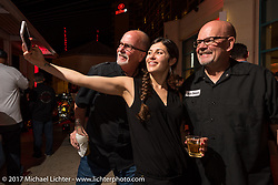 Vanessa Nay takes a selfie with AJ Smith (L) of Indian and David Stang of Jack Daniels at the Indian new bike reveal party at the Hilton Hotel during Daytona Bike Week. Daytona Beach, FL, USA. Friday March 10, 2017. Photography ©2017 Michael Lichter.