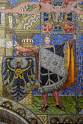Detail of ornate mosaic on wall of Kaiser Wilhelm memorial church (Gedachtniskirche) interior on Kurfurstendamm, Berlin, Germany