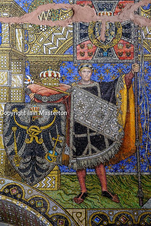 Detail of ornate mosaic on wall of Kaiser Wilhelm memorial church (Gedachtniskirche) interior on Kurfurstendamm, Berlin, Germany