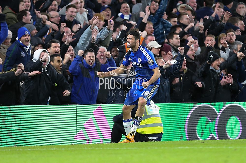 Chelsea's Diego Costa celebrates his goal during the Barclays Premier League match between Chelsea and Manchester United at Stamford Bridge, London, England on 7 February 2016. Photo by Ellie Hoad.