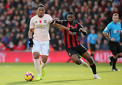 Manchester United's Anthony Martial and Bournemouth's Jefferson Lerma (right) battle for the ball during the Premier League match at The Vitality Stadium, Bournemouth.