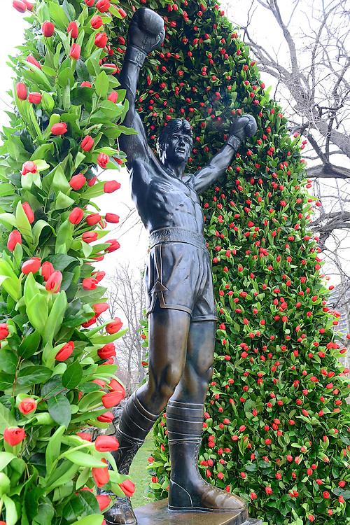 "Tulips turn ""Rocky Monument"" into symbol of hope for Parkinson's Disease CommUNITY campaign on April 2, 2014 outside of The Philadelphia Art Museum in Philadelphia, Pennsylvania.Visit www.parkinsonsonheath.com (Lisa Lake / AP Images for Teva Pharmaceuticals)"