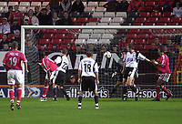 Photo. Glyn Thomas<br />Charlton Athletic v Luton Town. Carling Cup 2nd round.<br />The Valley, Charlton. 23/09/2003.<br />Charlton's Kevin Lisbie (2nd from left) scores his side's equaliser to take the score to 2-2.