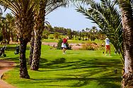 06-10-2015 -  Foto van Golfen in woestijnstijl bij Assoufid Golf Club in Marrakech, Marokko. De 18 holes van de Assoufid Golf Club zijn ontworpen door Niall Cameron. Bij helder weer bieden enkele holes fraaie uitzichten op het Atlas gebergte.