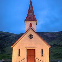 A night image of the church in Vík í Mýrdal, South Iceland.
