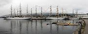 The Tall Ships Races Ålesund. High resolution Panorama. Statsraad Lehmkuhl, Guayas and Belle Poule.