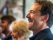 12 SEPTEMBER 2019 - CLIVE, IOWA: Governor STEVE BULLOCK (D-MT), waits to talk to Iowa voters at a campaign event in a microbrewery in Clive, IA, a suburb of Des Moines. Gov. Bullock is vying to be the Democratic party's nominee in 2020. He is campaigning in Iowa this week because he didn't qualify for the September 12 debate. Iowa traditionally hosts the the first election event of the presidential election cycle. The Iowa Caucuses will be on Feb. 3, 2020.   PHOTO BY JACK KURTZ