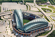 Aerial photograph of the Milwaukee Brewers Stadium, Milwaukee, Wisconsin on an overcast summer day.