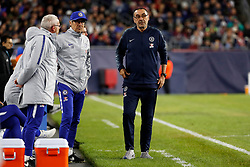 May 15, 2019 - Foxborough, MA, U.S. - FOXBOROUGH, MA - MAY 15: Chelsea assistant coach Luca Gotti and Chelsea FC head coach Maurizio Sarri during the Final Whistle on Hate match between the New England Revolution and Chelsea Football Club on May 15, 2019, at Gillette Stadium in Foxborough, Massachusetts. (Photo by Fred Kfoury III/Icon Sportswire) (Credit Image: © Fred Kfoury Iii/Icon SMI via ZUMA Press)