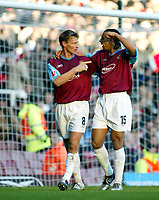 Fotball<br /> England 2004/2005<br /> Foto: SBI/Digitalsport<br /> NORWAY ONLY<br /> <br /> West Ham United v Nottingham Forest<br /> Coca Cola Championship. 26/12/2004<br /> <br /> Who scored that one? Teddy Sheringham and Anton Ferdinand of West Ham celebrate Teddy's goal that put West Ham 2-0 up.