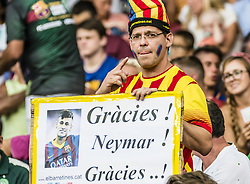 August 7, 2017 - Barcelona, Catalonia, Spain - A fan of the FC Barcelona holds a banner thanking Neymar Jr prior to the 52nd Joan Gamper Trophy at the Camp Nou stadium in Barcelona (Credit Image: © Matthias Oesterle via ZUMA Wire)