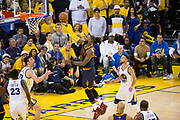 Cleveland Cavaliers forward LeBron James (23) lays the ball into the basket against the Golden State Warriors during Game 1 of the NBA Finals at Oracle Arena in Oakland, Calif., on June 1, 2017. (Stan Olszewski/Special to S.F. Examiner)