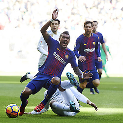 December 23, 2017 - Madrid, Spain - Barcelona midfielder PAULINHO is fouled by Real Madrid midfielder CASEMIRO during Spanish La Liga action at Santiago Bernabeu stadium. (Credit Image: © Jack Abuin via ZUMA Wire)