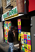 Colourful kebab shop on Brick Lane on 24th June 2020 in London, England, United Kingdom. This fast food takeaway restaurant sells Shawarma kebabs.