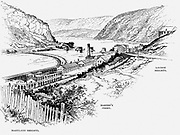 Harper's Ferry where, on 18 October 1856, the  slave rebellion led by John Brown ended in engine house to left of track leading down to ferry. Engraving c1870.