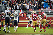 New England Patriots wide receiver Malcolm Mitchell (19) dances in the end zone after scoring a touchdown against the San Francisco 49ers at Levi's Stadium in Santa Clara, Calif., on November 20, 2016. (Stan Olszewski/Special to S.F. Examiner)