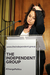 © Licensed to London News Pictures. 20/02/2019. London, UK. Heidi Allen speaking at the press conference. Former Conservative MPs Anna Soubry, Sarah Wollaston and Heidi Allen hold news conference after leaving the party for Independent Group in Westminster. Photo credit: Dinendra Haria/LNP
