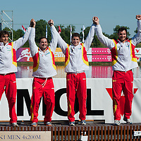 Saul Craviotto Rivero, Ekaitz Saies Sistiaga, Carlos Perez Rial and Pablo Andres from Spain celebrate their victory in the K1 men Kayak 4x200m relay final of the 2011 ICF World Canoe Sprint Championships held in Szeged, Hungary on August 21, 2011. ATTILA VOLGYI
