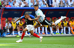 June 30, 2018 - Kazan, Russia - Soccer Football - World Cup - Round of 16 - France vs Argentina - Kazan Arena, Kazan, Russia - June 30, 2018  Argentina's Marcos Rojo fouls France's Kylian Mbappe in the penalty area  REUTERS/Dylan Martinez (Credit Image: © Panoramic via ZUMA Press)