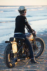 Jen Sheets on her 1947 Harley-Davidson Knucklehead after racing at The Race of Gentlemen. Wildwood, NJ, USA. October 11, 2015.  Photography ©2015 Michael Lichter.
