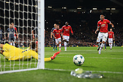31st October 2017 - UEFA Champions League - Group A - Manchester United v SL Benfica - Benfica goalkeeper Mile Svilar saves a penalty from Anthony Martial of Man Utd - Photo: Simon Stacpoole / Offside.