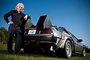 "Michio Kaku, presenter of ""Physics of the impossible with a De Lorean Back to the Future replica, London, UK."