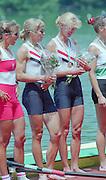 Lucerne, Switzerland. 1995 FISA WC III, Lake Rotsee, Lucerne,<br /> USA LW2X Christine Collins and<br /> Ellen Minzner,<br /> [Mandatory Credit. Peter SPURRIER/Intersport Images]<br /> <br /> Image scanned from Colour Negative
