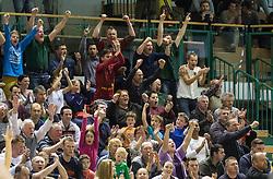 Supporters of Krka during basketball match between KK Krka and KK Union Olimpija in Round #7 of Telemach League for Slovenian National Champion 2014/15 on April 18, 2015 in Dvorana Leona Stuklja, Novo mesto, Slovenia. Photo by Vid Ponikvar / Sportida