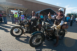 Team Vino - Robert Gustavsson (L), also known as the Big Swede, arrives at the finish on his 1931 Harley-Davidson VL alongside Dean Bordigioni (Dino) on his 1923 Harley-Davidson JS during Stage 10 (278 miles) of the Motorcycle Cannonball Cross-Country Endurance Run, which on this day ran from Golden to Grand Junction, CO., USA. Monday, September 15, 2014.  Photography ©2014 Michael Lichter.