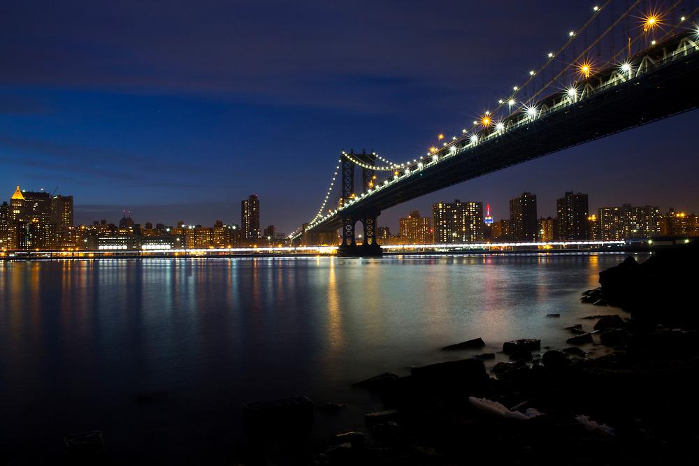 View on Manhattan Bridge from Brooklyn Bridge Park during Sunset