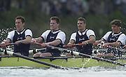 Putney, London   <br /> 2002 Varsity Boat Race. <br /> Photo Peter Spurrier<br /> 2002 Boat Race<br /> 30/03/02<br /> The Oxford engine room at work.<br /> left to right - Ben Burch, Lucas McGee, Dan Perkins and Gerritjan Eggankamp.[Mandatory Credit:Peter SPURRIER/Intersport Images]