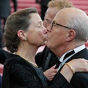 NLD/Amsterdam/201200704 - Inloop Koninging Beatrix bij afscheid Hans van Manen, Hans van Manen en Rita Kok - Roukema