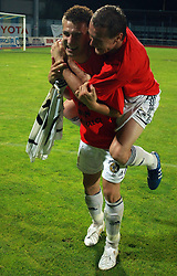 Rok Elsner (11) of Interblock and Suad Grabus (3) of Interblock celebrate after Slovenian Supercup between NK Domzale and NK Interblock, on July 9, 2008, in Domzale. Interblock won the mach and Supercup by 7 : 6 after penalty shots. (Photo by Vid Ponikvar / Sportal Images)