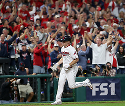 October 5, 2017 - Cleveland, OH, UKR - The Cleveland Indians' Jay Bruce runs the bases after his two-run home run against the New York Yankees in the fourth inning during Game 1 of the American League Division Series on Thursday, Oct. 5, 2017, at Progressive Field in Cleveland. (Credit Image: © Phil Masturzo/TNS via ZUMA Wire)