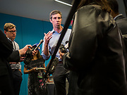 06 MAY 2019 - DES MOINES, IOWA: BETO O'ROURKE, a Texas Democrat, talks to reporters in a press gaggle after a roundtable discussion about climate change in Des Moines Monday. O'Rouke is campaigning in Iowa to support his candidacy to be the Democratic nominee for the US Presidency in 2020.  Iowa traditionally hosts the the first election event of the presidential election cycle. The Iowa Caucuses will be on Feb. 3, 2020.              PHOTO BY JACK KURTZ