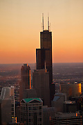 Sunset over the Willis Tower, formerly the Sears Tower in Chicago, IL, USA.