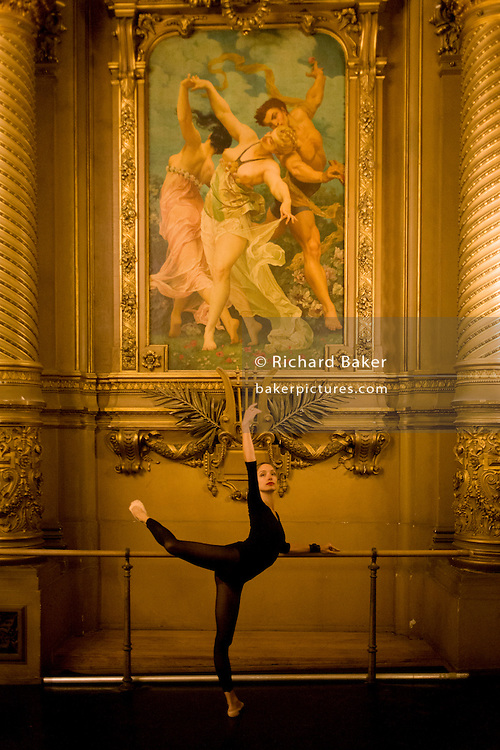 Ballerina, Dorothée Gilbert warms up in the Salon de Danse, at the Palais Garnier, Paris. <br /> <br /> From the chapter entitled 'Etoile' and from the book 'Risk Wise: Nine Everyday Adventures' by Polly Morland (Allianz, The School of Life, Profile Books, 2015). <br /> <br /> FOR REPRODUCTION OTHER THAN RELATED TO THE BOOK 'RISK WISE', PERMISSION FROM DOROTHEE GILBERT IS REQUIRED.
